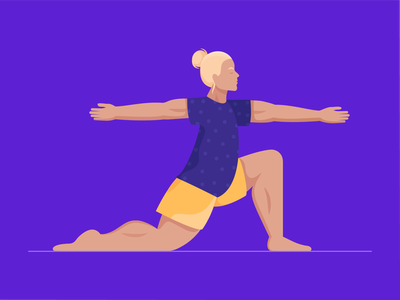 Warrior stretch health fitness sport character pose man exercise yoga warrior illustration vector