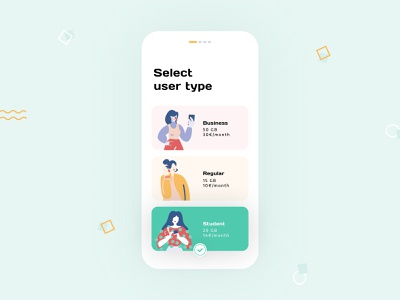 Daily UI 64 — Select User Type mobile illustration colorful app branding vector daily ui challenge ux design ui dailyui