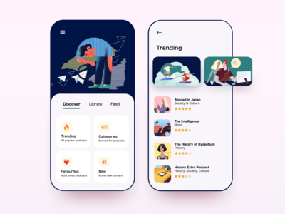 Daily UI 69 — Trending podcast trending mobile illustration colorful app ux daily ui challenge design ui dailyui