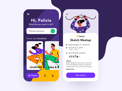 Daily UI 70 — Event Listing craftwork mobile illustration colorful app branding daily ui challenge ux design ui dailyui