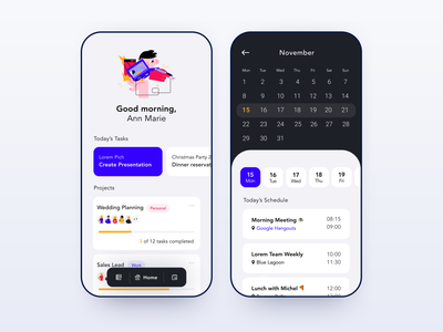 Daily UI 71 — Schedule schedule projects project tasks task todo calendar mobile app craftwork mobile app illustration colorful vector branding daily ui challenge ux design ui dailyui