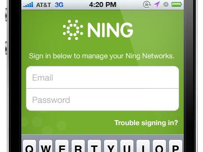 Ning iPhone Login Screen iphone login ning