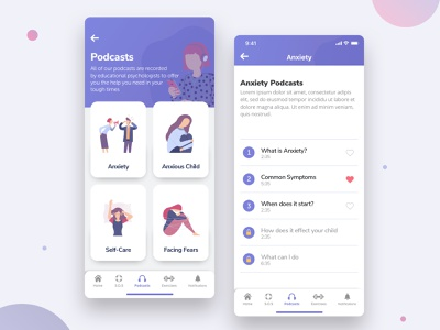 Podcast App Player landing page navigation design anxiety product design phone daily ui illustrations music player podcasts podcast mental health ios mobile uxdesign website web design ux ui app
