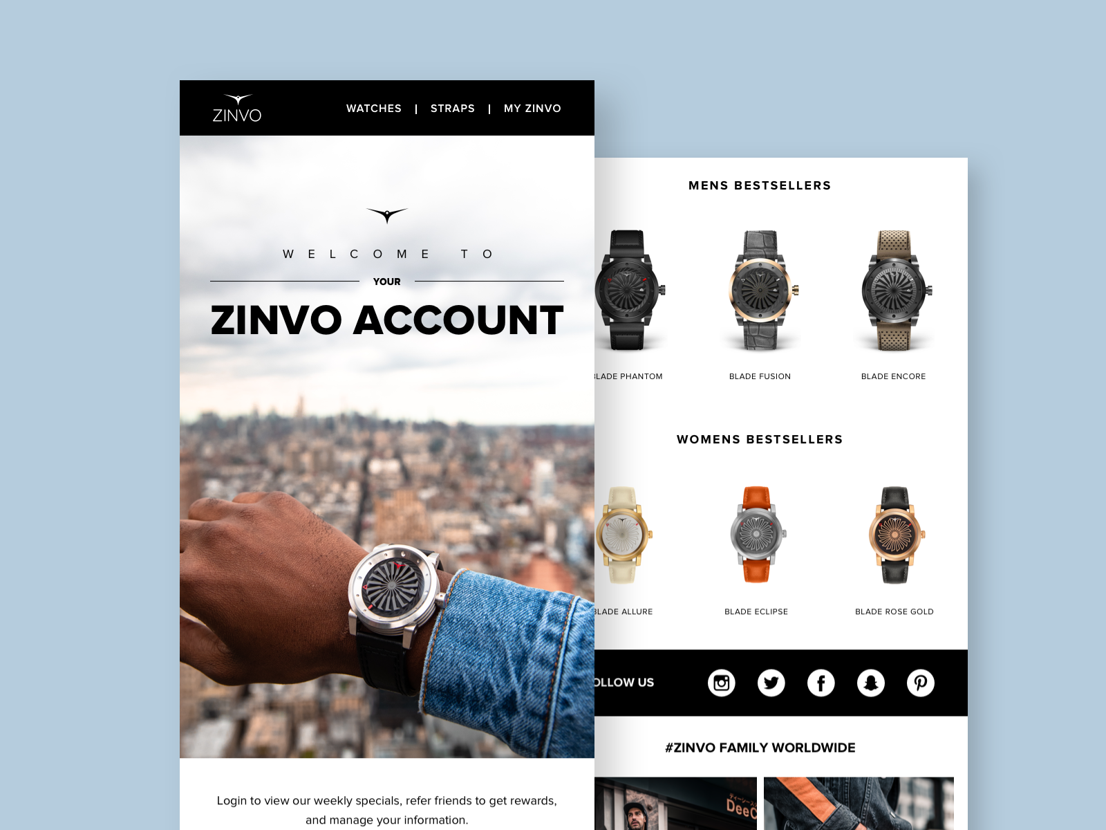 Welcome Email watches e-commerce newsletter email