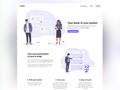 Visor - Your bank, in your pocket. startup shape product minimal landing page web website illustration icon gradient freelancer banking e-commerce corporate design corporate colorful character branding agency 2019 trend