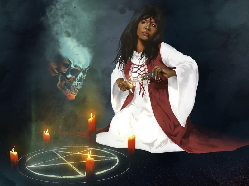 Penny Pentagram black magic witchcraft skull procreate witchy creepy character illustration
