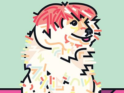 Pomeranian in a Wig vector dog illustration