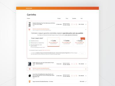 Checkout Extended Warranty dropdown desktop e-commerce concept extended warranty checkout