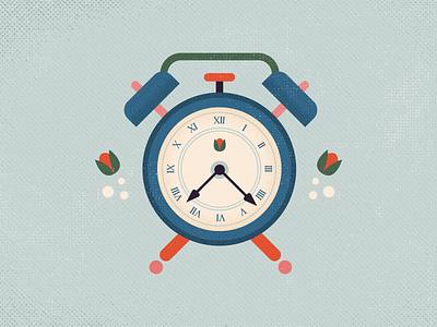 Clock tulip texture time clock retro vintage old vector illustration grunge
