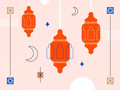 Ramadan spiritual line oriental orange bright moon crescent star tile ramadan lantern vintage retro texture illustration grunge