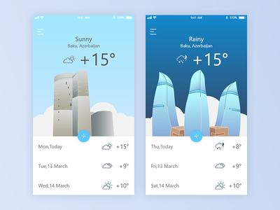 Weather App weather ui azerbaijan baku daily challenge card buiding app