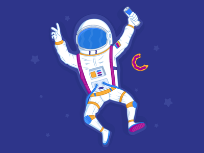 Traveler In Space male space helmet space cosmonaut illustration character