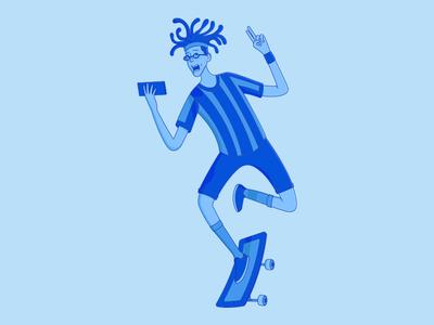 Blue Buddy On Skateboard skate blue life joy skateboarder male illustration character