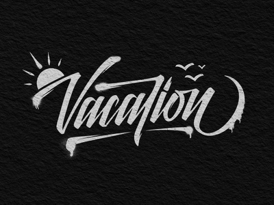 Vacation graffiti canvas calligraphy ligature type font lettering typography