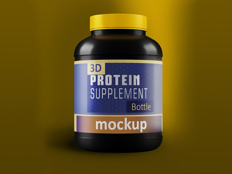 3D Protein Jar with Black Cap high creatine canister bucket body building black bottle big jar bar 3d supplement bottle 3d box 3d model photoshop branding design 3d product design 3ds max flat dribbble creative latest