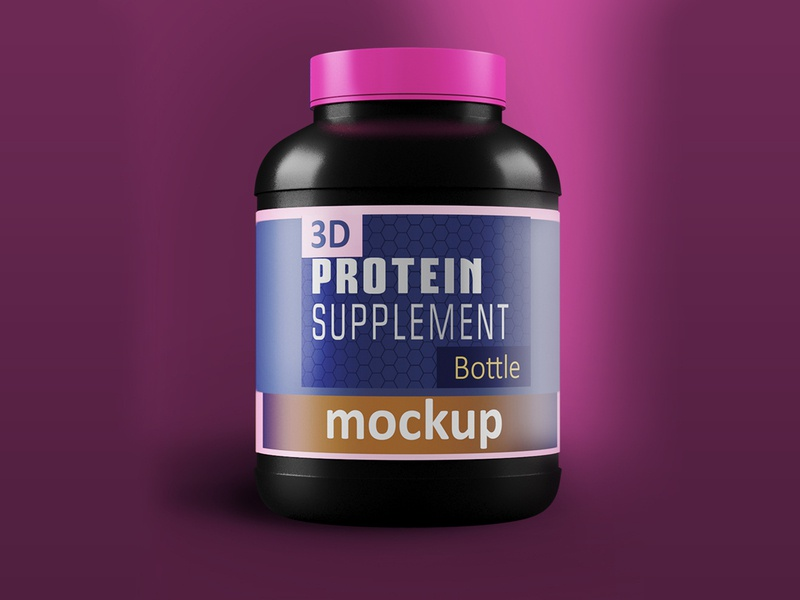 3d Protein Jar with Pink Cap products power powder plastic bottle plastic bag photorealistic nutrition muscle mockup illustration 3d model photoshop 3dsmax branding 3d product design 3ds max creative dribbble latest