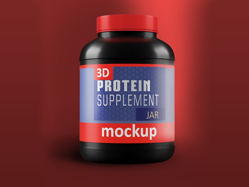 3D Protein Bottle with Red products power powder plastic bottle plastic bag photorealistic nutrition muscle mockup illustration 3d model photoshop 3dsmax branding 3d product design 3ds max dribbble creative latest