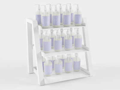 3D Shelf with Hand Sanitizer Bottle 3d model photoshop branding 3d product design 3ds max dribbble creative latest 3d art shelf with bottle shelf 3d design 3d bottle 3d