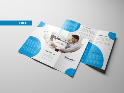 Free Tri-fold Brochure PSD file brochure template brochure design brochure photoshop design branding flat dribbble creative latest