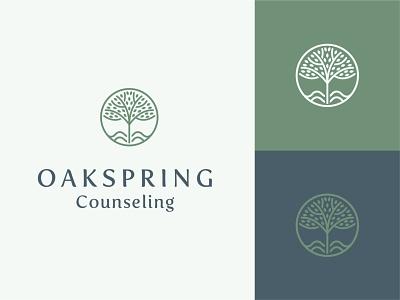 Oakspring Counseling tree logo tree brand identity brand design icon logo logo design branding design oakspring oakspring
