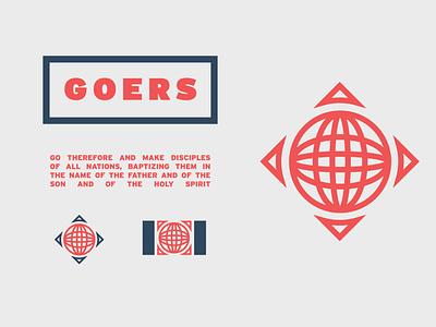 Goers Micro-Brand branding christian church design vector global logo logo icon church typography logo design globe