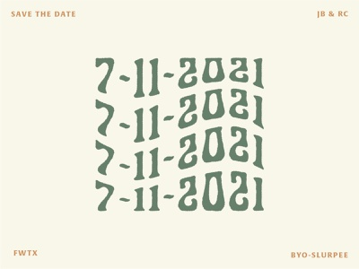 I'm Engaged! 7-11 Save The Dates funky save the date logo typography branding design