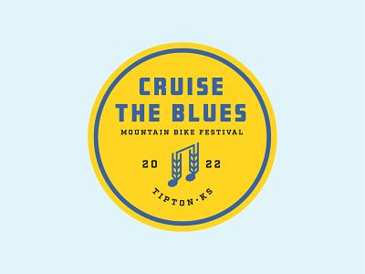 Cruise The Blues logo typography bicycle festival mountain biking wheat logo music logo logo design branding design