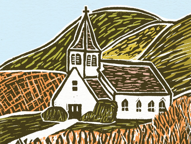 Linocut church drawing graphic church linocut block print illustration illustrated book
