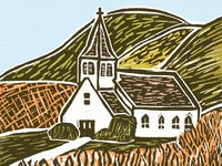 Linocut church