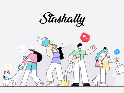 Stashally 2 illustration branding design