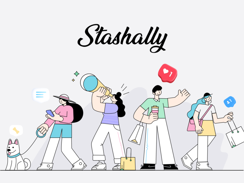 Stashally 2 illustration branding design