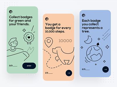 Badge APP guide page branding illustration app design ux ui