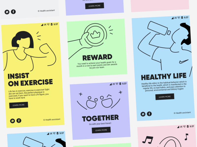 Health guide branding illustration app ux design ui