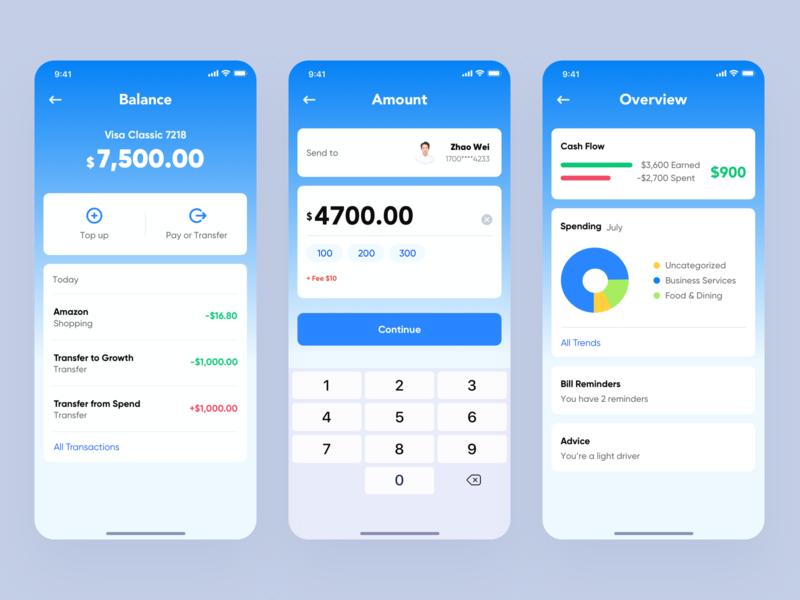 Financial application app ux design ui