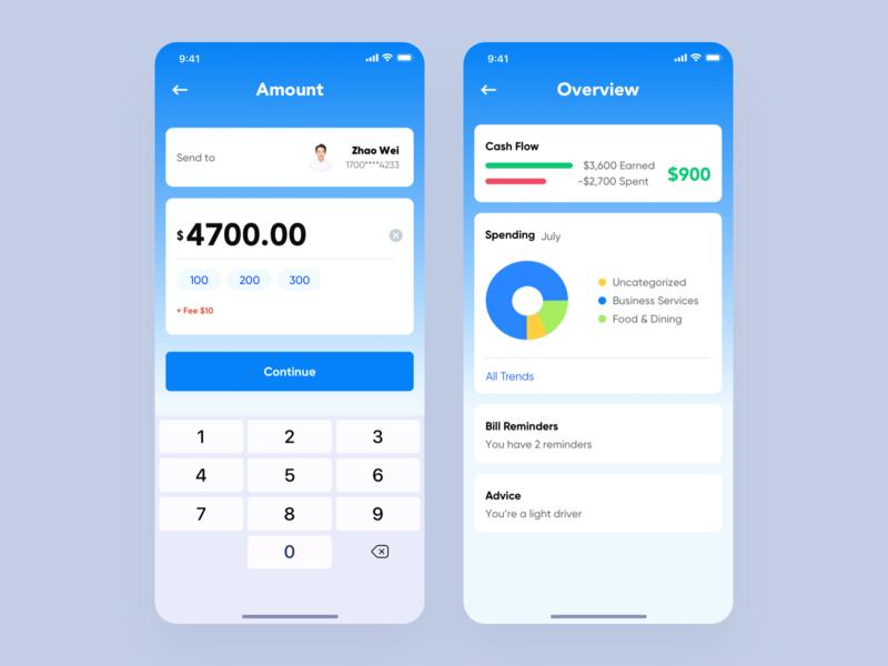 Financial application 2 app ux design ui