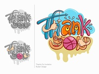 """Thank you"", Lettering Illustration Vector"