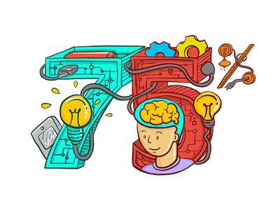 """75%""  Illustration bubble think people logo brand illustration 75"