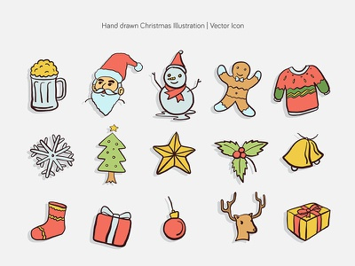 Hand drawn Christmas Illustration | Vector Icon doodle xmas merry vector hand drawn icon christmas