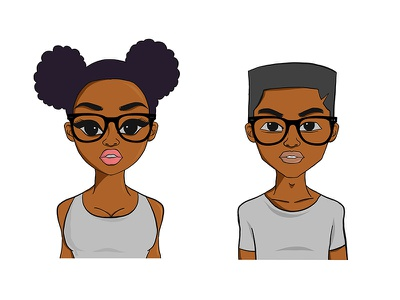 Young Black Girl and Boy Illustration teenager teen negro illustration black boy. girl blac kgirl
