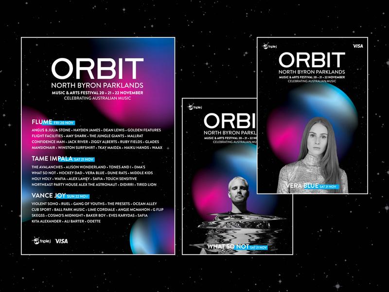 Orbit Festival circle blue gradient illustrator light colour music art space poster festival poster music festival branding festival music
