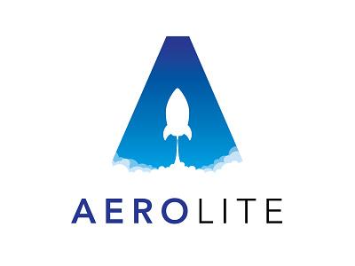 Aerolite geometric sans serif gradient rocketship rocket space logo branding