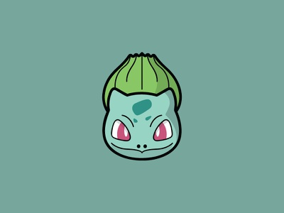 Bulbasaur minimal circle head illustrator icon illustration pokemon bulbasaur