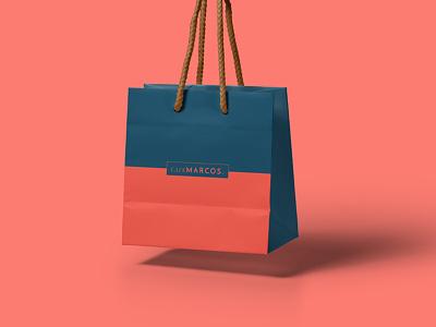 CafeMarcos Bag duotone colour light restaurant cafe packaging bag logo branding