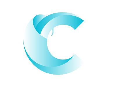 C blue colour abstract branding logo illustration illustrator gradient lettermark