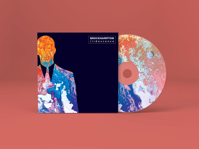 Iridescence Cover abstract branding orange blue light pink illustrator colour album artwork album cover design album cover album music art artwork cd cover music cover cd music iridescence brockhampton