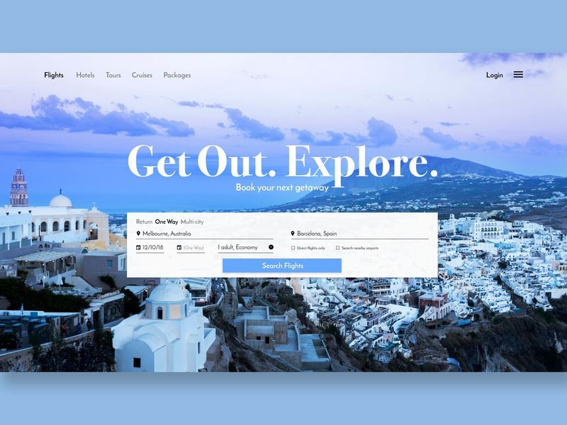 Travel Website / Day 03 landscape ux light typography colour ui  ux travel nikon photography ui ui 100 web design web design uxui uxuidesign dailyui 003 dailyui uidesigner uidesign