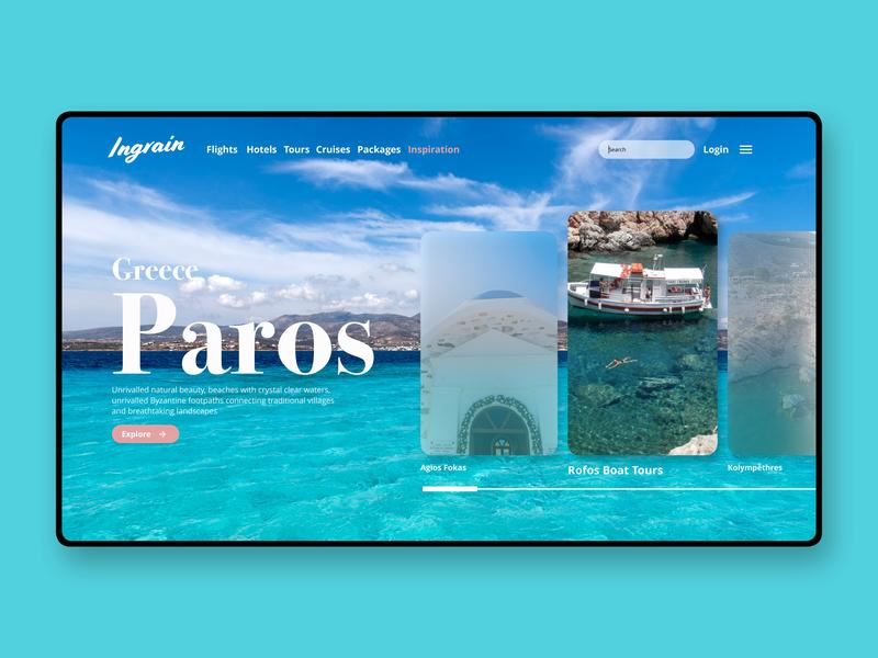 Ingrain Concept / Paros ux typography design logo branding blue light beach paros greece island photography website builder ui  ux design ui  ux ui travel website website travel app travel