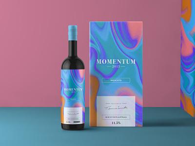Momentum Wine Packaging package mockup packaging design packagedesign marbling wine bottle moscato packaging label wine