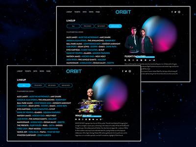 Orbit Festival Artist Profile website page layout typography ux design ui artist dailyui ui designer light music space gradient illustrator design branding music festival web design ui design adobe illustrator adobe xd