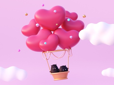 Valentine's Day valentine day 14 february cute gold character design 3d character 3d pearl ballon airballoon pink clouds love heart holiday character illustration